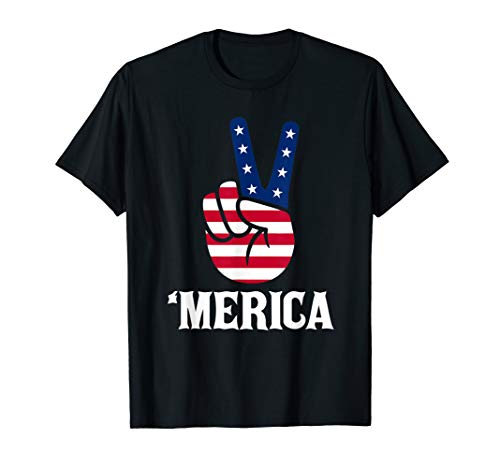 Merica American Flag Peace Sign Hand 4th of July Tshirt Gift Blue Peace Sign Womens T-shirt