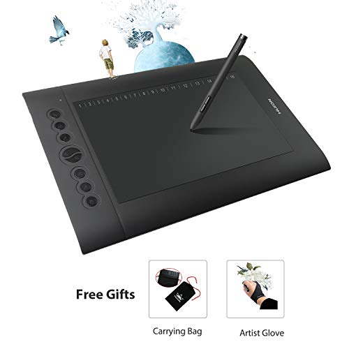 - Huion H610 Pro Graphic Drawing Tablet 8192 Pen Pressure Sensitivity with Carrying Bag and Glove