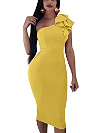 Women's Sexy Ruffle One Shoulder Sleeveless Bodycon Party...