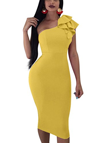 (Mokoru Women's Sexy Ruffle One Shoulder Sleeveless Bodycon Party Club Midi Dress, Medium, Dark Yellow)