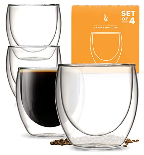 Double Walled Cups - Kitchables - Set of 4 - Glass Coffee or Tea Mugs Drinking Glasses, 8oz