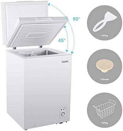 TECCPO 3.5 Cu.Ft Deep Freezer, Upright Single Door (Up to 90°), Energy Saving, Five Temperature Adjustable (10.4°F~-22°F), Compact Chest Freezer Perfect for Kitchen, Basement, White TAFZ02