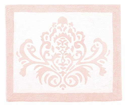 Sweet JoJo Designs Blush Pink Damask Accent Floor Rug Bedroom Decor for Amelia Girls Kids Bedding Collection by Sweet Jojo Designs
