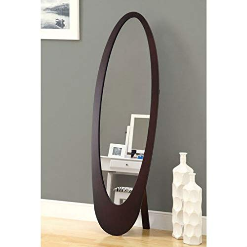 Mirror Cappuccino Modern Finish - BeUniqueToday Modern Oval Cheval Floor Mirror in Cappuccino, has Frame Made of MDF with A Rich Cappuccino Finish and Features A Sleek Leg at the Back for Support, Full Length Cheval Mirror Adds Beauty