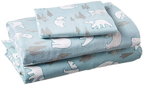 True North by Sleep Philosophy Cozy Flannel 100% Cotton Cute Warm Ultra Soft Cold Weather Sheet Set Bedding, Twin Xl Size, Blue Polar Bears 3 Piece