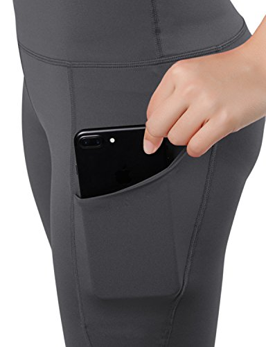 ODODOS High Waist Out Pocket Yoga Shots Tummy Control Workout Running 4 Way Stretch Yoga Shots, Gray, X-Large by ODODOS (Image #5)