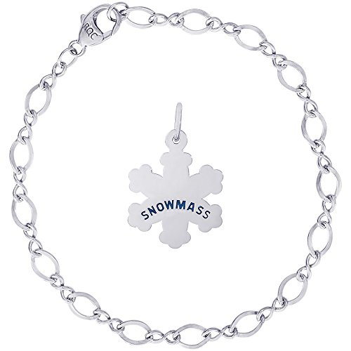 Rembrandt Charms Sterling Silver Snowmass Snowflake Charm on a Figure Eight Link Bracelet, (Centennial Figures)
