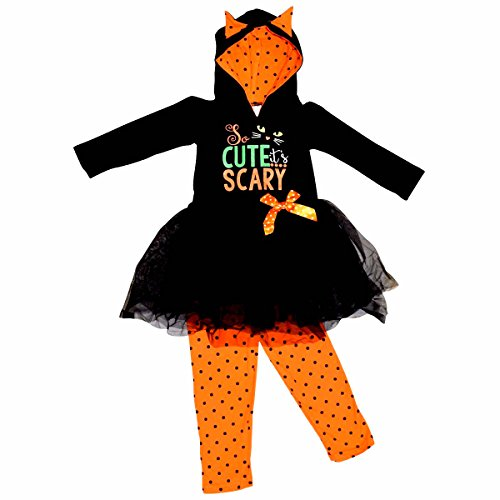 Unique Baby Girls Scary Cute Black Cat Halloween Hoodie Outfit