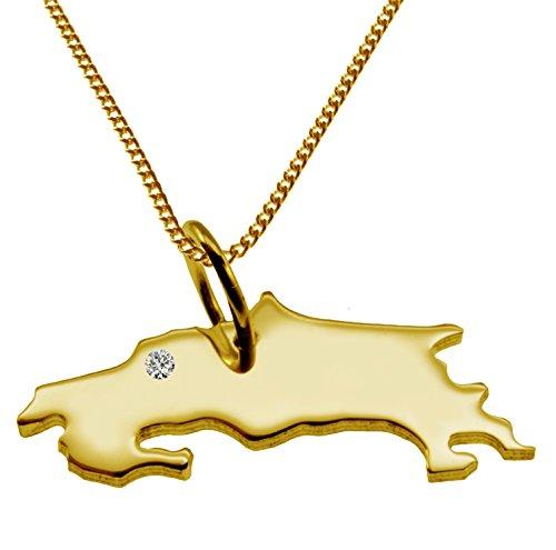 Endroit Exclusif Costa Rica Carte Pendentif avec brillant à votre Désir (Position au choix.)-avec Chaîne-massif Or jaune de 585or, artisanat Allemande-585de bijoux