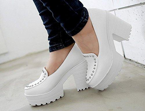 Show Shine Vrouwen Casual Platform Ruig Hoge Hak Loafers Schoenen Wit