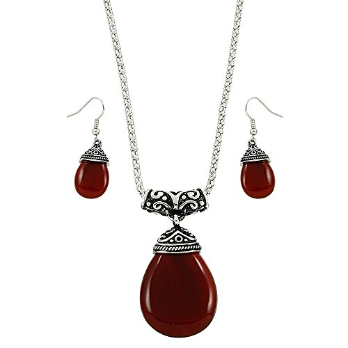 Falari Tear Drop Shaped Natural Gemstones Necklace Earring Set Red Agate