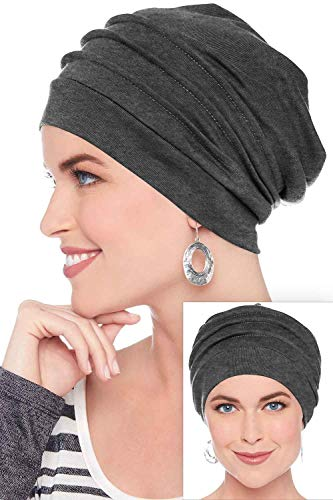 Headcovers Unlimited 100% Cotton Slouchy Snood Caps for Women with Chemo Cancer Hair Loss Charcoal