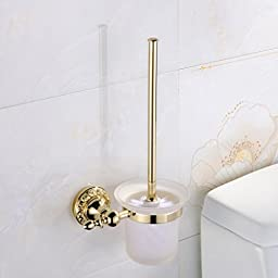 Leyden Wall Mount Bathroom Ti-PVD Gold Finish Brass Material Toilet Brush Holder