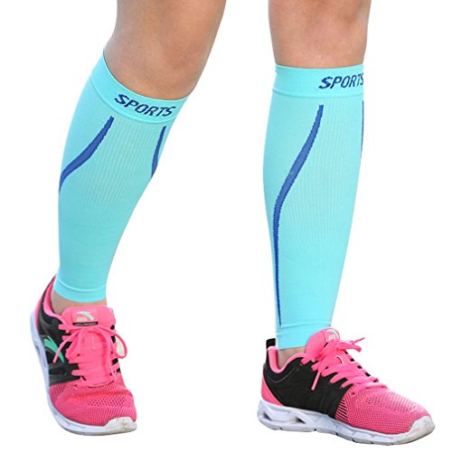 ChinFun Compression Calf Sleeve 20-30mmHG Leg Support Graduated Pressure Socks Running Guards - Shin Splints Circulation Recovery Varicose Veins Pain Relief Sports Gear Sky Blue L ()