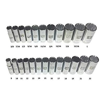 """Craftsman Laser Etched Easy Read 24 Piece SAE & Metric 3/8"""" Drive 12 Point Deep Well Socket Set"""