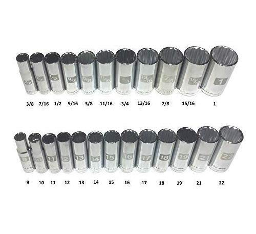 Socket Point Deep 12 - Craftsman Laser Etched Easy Read 24 Piece SAE & Metric 3/8