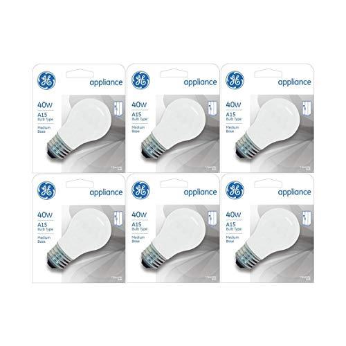GE Appliance A15 Light Bulb, Inside Frost, 40-Watt, 355 Lumens, Medium Base, 3-1/2 Inches (6 Pack)
