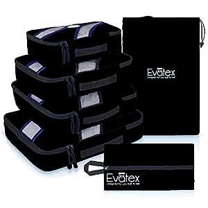 Evatex Luxury Packing Cubes, 4 Pcs Set (Black), with Laundry, Shoe Bag