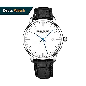 Stuhrling Original Mens Watch Calfskin Leather Strap – Dress + Casual Design – Analog Watch Dial with Date, 3997Z Watches for Men Collection