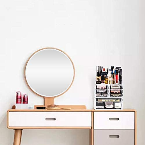 DreamGenius Makeup Organizer 3 Pieces Acrylic Cosmetic Storage Drawers and Jewelry Display Box Transparent-A