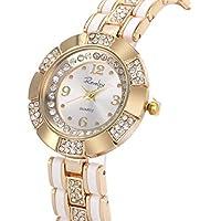 Wrist Watch Women Lady Gold Stainless Steel Crystal SIBOSUN Quartz Dress Gorgeous Bracelet