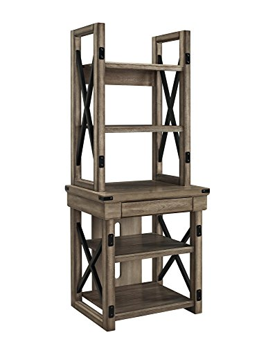 Ameriwood Home Wildwood Wood Veneer Audio Stand/Bookshelf, Rustic Gray (Trees Small Hall)