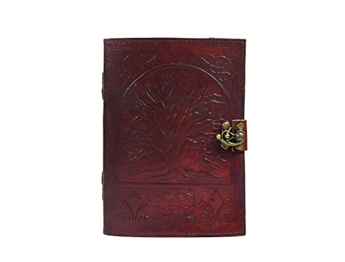 Leather Journal with Semi-precious Stone & Buckle Closure Leather Diary Gift for Him Her for Writing Leather Diary Handmade Leather Journal (Tree of Life (Precious Journals)
