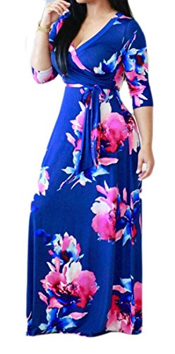 Cut Sleeve Sexy 4 Blue Women's Low Printed Belt Maxi Dress 3 Pleated Cromoncent wFRqAZTw