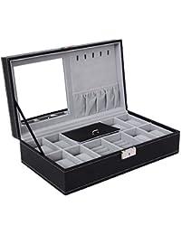 Black Jewelry Box 8 Watch Organizer Storage Case with Lock and Mirror UJWB41B