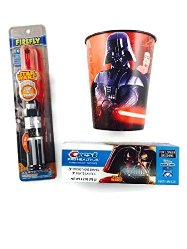 Star Wars Lightsaber Toothbrush Bundle Timer Lights Cup Toothpaste Darth Vader Minute (Toothbrush Kids Jr)