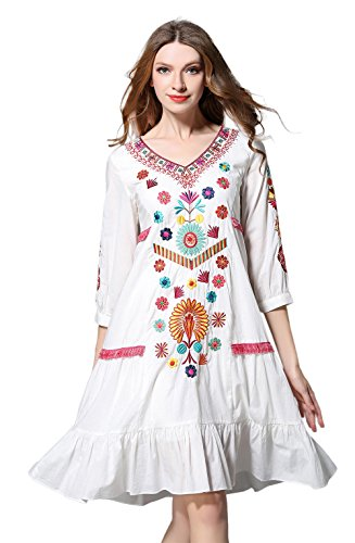 Shineflow Womens Casual 3/4 Sleeve Floral Embroidered Mexican Peasant Dressy Tops Blouses Shirt Dress Tunic (L) White
