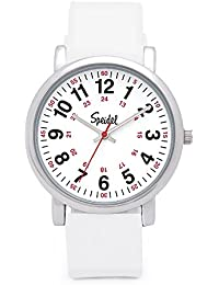 Scrub Watch for Medical Professionals with White Silicone Rubber Band - Easy to Read Timepiece with