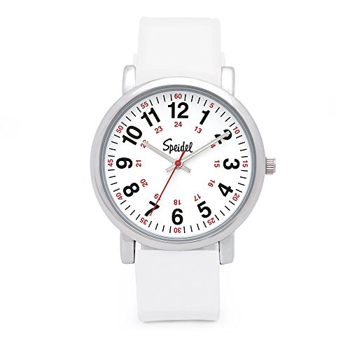 (Speidel Scrub Watch for Medical Professionals with White Silicone Rubber Band - Easy to Read Timepiece with Red Second Hand, Military Time for Nurses, Doctors, Surgeons, EMT Workers, Students and More)
