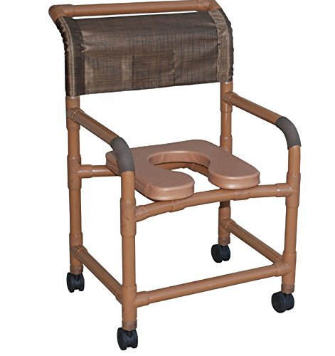 """MJM International 122-3TL-ADJ-SF-DDA-SSDE-SQ-PAIL Adjustable Seat Height Wide Shower Chair with Total Lock Casters, Slide Out Footrest, Double Drop Arms, Soft Seat and Commode Pail, 375 oz Capacity, 45.5"""" Height x 26"""" Width x 27"""" Depth, Royal Blue/Forest Green/Mauve"""