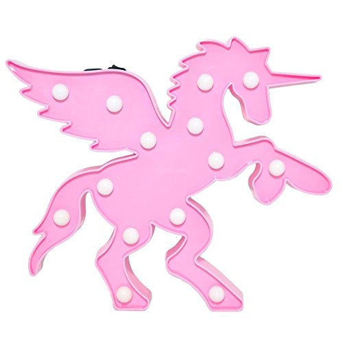 - Glintee Unicorn Light Pink Pegasus Wings Decorative Marquee Sign, Table Lamps Indoor Bedroom Decoration Birthday Gifts Kids Children USB & Battery Operated(Pink Unicorn Crossing)