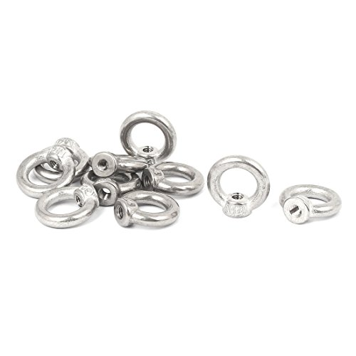 Uxcell a16080200ux0209 M4 Thread Dia 304 Stainless Steel Ring Shape Lifting Eye Nut Fastener (Pack of 10) by uxcell