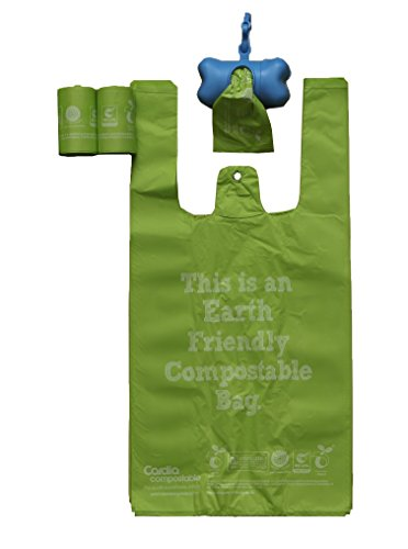 PET LIFE 'Compostable' 100% Recyclable and Biodegradable Eco-Friendly Pet Cat Dog Waste Bags from Thermoplastic Starch, Dispenser and 2 Pack of Rolls, Pistachio Green