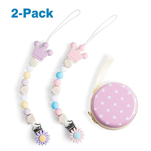 Baby 2 Packs Dummy Clips BPA Free Baby Teether Soother Pacifier Chain Holders