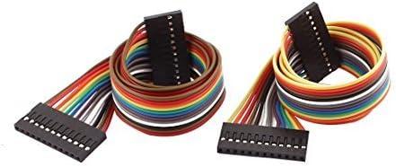 eDealMax 2 piezas hembra a hembra 12P Jumper Cables Los Cables de Cinta Pi Pico de tablero DIY 40cm de Largo