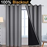 Yakamok 100% Blackout Curtains, Thermal Insulated Soundproof Gray Curtain Panels, Full Light Blocking Drapes with Black Liner for Living Room/Bedroom(52Wx84L, Grey, 2 Panels)