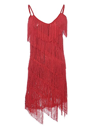Dresses From The 20s (Anna-Kaci Womens Fringe Sequin Strap Backless 1920s Flapper Party Mini)