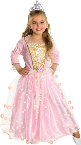 Child's Rose Princess Costume with Fiber Optic Light Twinkle Skirt, Small -