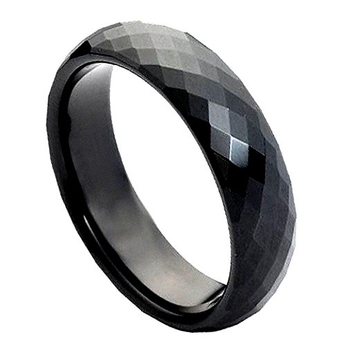 Ladies 6mm Faceted Cut Wedding Band, Black Ion Plated High Polish Comfort Fit Tungsten Carbide Anniversary Ring - (6mm Faceted Band Gemstone Ring)