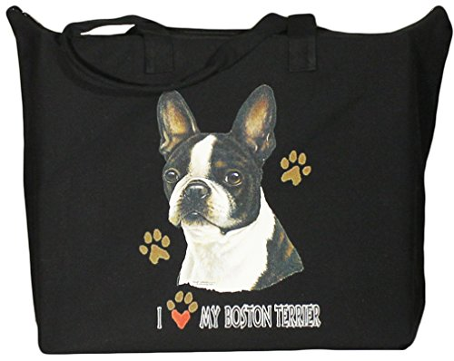 Terrier Zippered Tote - BAGedge Boston Terrier Zippered Tote Bag