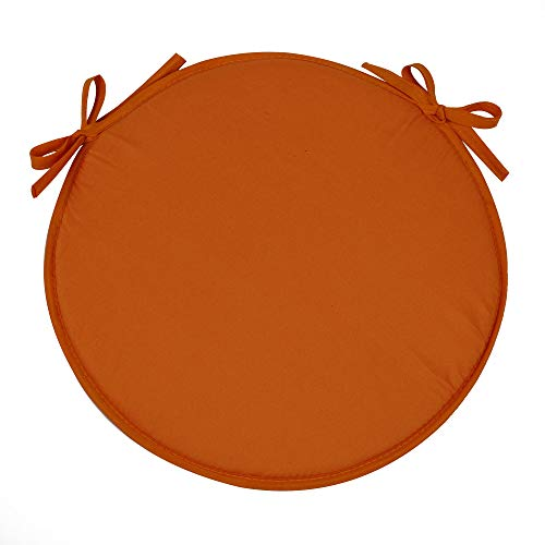 (SimpVale Set of 4 Seat Cushions with Ties - Round Chair Pads for Armchairs Garden Outdoor Indoor Chairs, Diameter 38cm, Orange)