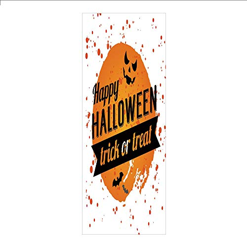 3D Decorative Film Privacy Window Film No Glue,Halloween,Happy Halloween Trick or Treat Watercolor Stains Drops Pumpkin Face Bats,Orange Black White,for Home&Office]()
