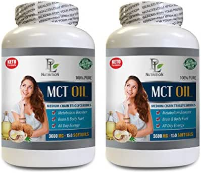 Metabolism Booster and Fat Burner - MCT Oil 3600 MG - Medium Chain TRIGLYCERIDES - 100% Pure - Medium Chain triglycerides Capsules - 2 Bottles 300 Softgels