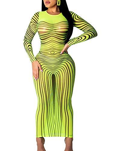 Succi Womens Sexy Sheer See Through Stripe Print Mesh Cover Up Swimsuit Beach Dress Paty Club Bodycon Midi Dresses Green M ()