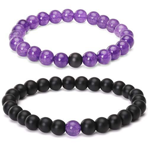 8mm Beaded Couple Bracelet Purple Amethyst & Black Matte Agate His and Hers Couple Long Distance Bracelet
