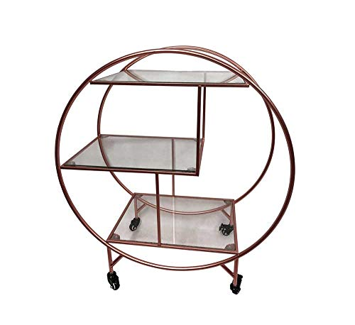 Rose Gold Large Round 3 tier Drinks Trolley 1930/'s Art Deco Home Hostess